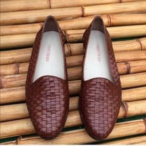 Brown Woven Leather Loafer Espadrille